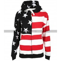 4th July Female Zipper American Flag Hooded Sweatshirt
