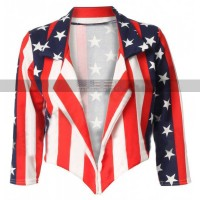 Women Independence Day Costumes American Flag Leather Jacket