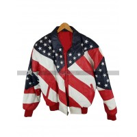 Usa Gents Independence Day Michael Hoban American Flag Leather Jacket