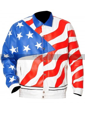 Usa Men Vanilla Ice America Flag Bomber Leather Jacket