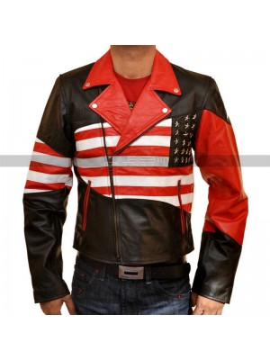 Mens Independence Day Costume American Flag Leather Jacket