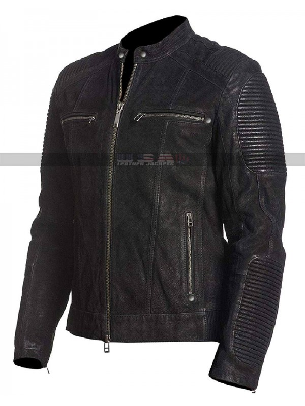 Cafe Racer Black Retro Motorcycle Distressed Leather Jacket