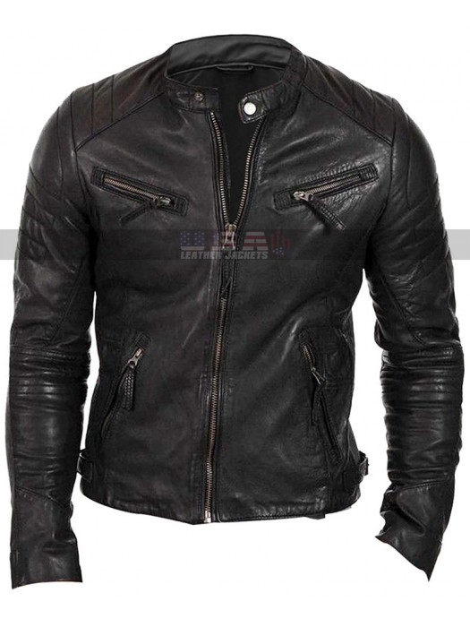 Cafe Racer Mens Regular Fit Quilted Shoulders Biker Leather Jacket