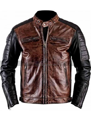 Men Brando Cafe Racer Retro Biker Brown Leather Jacket
