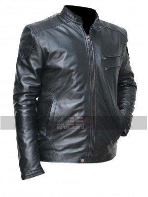 Mens Cafe Racer Vintage Moto Black Shiny Biker Leather Jacket