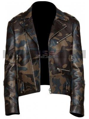 Vintage Cafe Racer Mens Camouflage Brando Motorcycle Leather Jacket