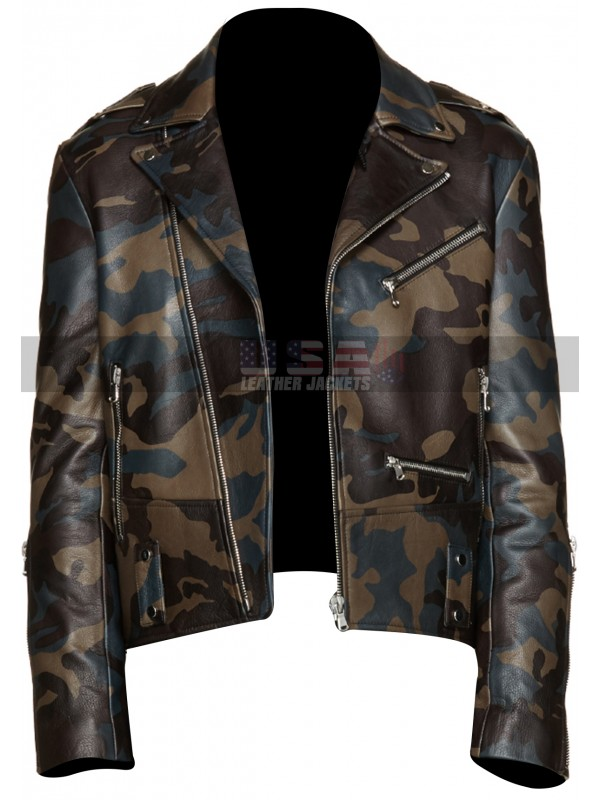d518ed5b84e Vintage Cafe Racer Mens Camouflage Brando Motorcycle Leather Jacket