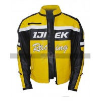 Men Dead Rising 2 Chuck Ijiek Greene Racing Hunting Yellow Biker Leather Jacket