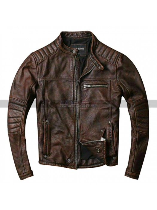 Men's Vintage Motorcycle Cafe Racer Quilted Biker Distressed Brown Leather Jacket