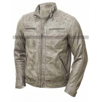 Men's Vintage Shade Quilted Cafe Racer Distressed White Jacket