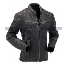 Mens Motorcycle Cafe Racer Biker Vintage Distressed Black Rider Jacket