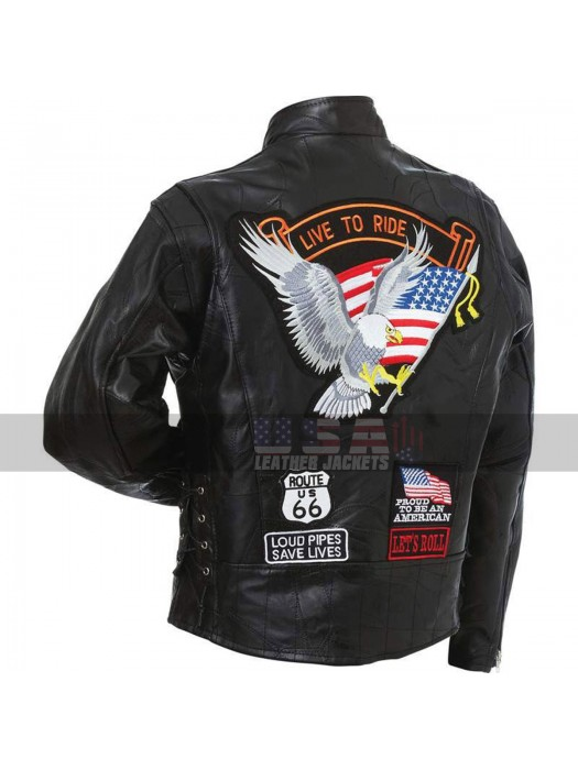 American Eagle Logo Live to Ride Motorcycle Rider Black Leather Jacket
