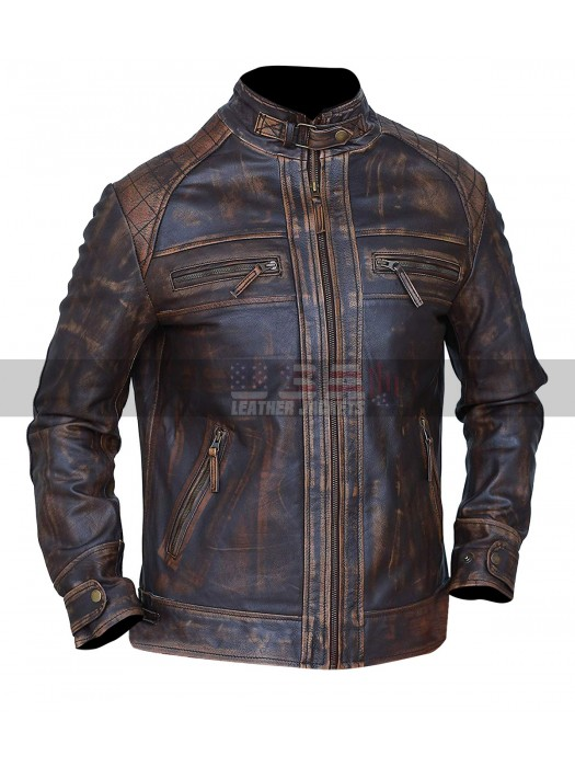Mens Cafe Racer Classic Diamond Vintage Motorcycle Biker Leather Jacket