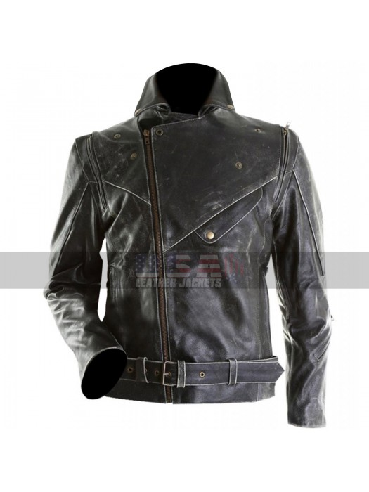 Mens Cafe Racer Brando Distressed Black Motorcycle Leather Jacket