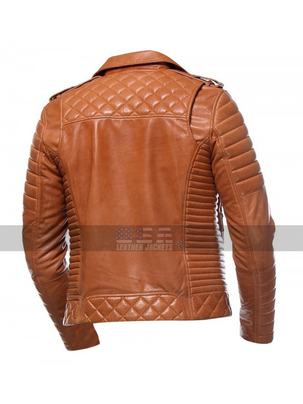 3ef8e9e02a1a Mens Cafe Racer Quilted Moto Style Tan Biker Leather Jacket