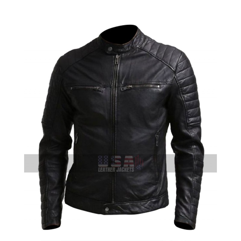Mens Regular Fit Quilted Shoulders Biker Leather Jacket