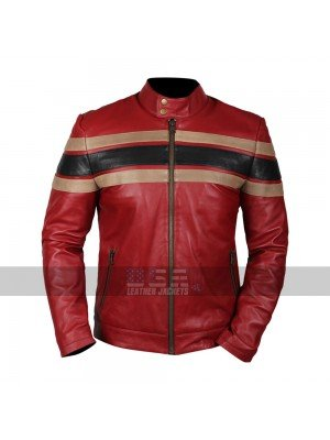 Men Cafe Racer Retro Striped Vintage Red Biker Leather Jacket
