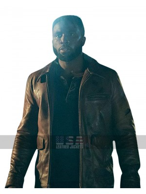 Y'lan Noel The First Purge Dmitri Brown Biker Leather Jacket