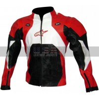 Stylish Red and Black Unisex Motorcycle Leather Jacket