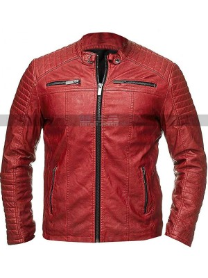 Vintage Cafe Racer Retro Biker Quilted Red Leather Jacket