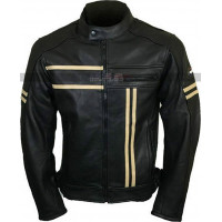 Vintage Mens Cafe Racer Retro Cruiser Biker Black Leather Jacket
