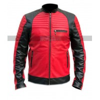 Mens Cafe Racer Retro Vintage Cruiser Biker Black Red Leather Jacket