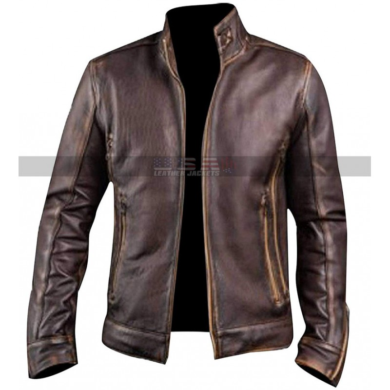 Men's Vintage Cafe Racer Motorcycle Retro Biker Waxed Brown Leather Jacket