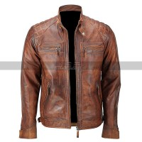 Mens Vintage Cafe Racer Retro Motorcycle Distressed Leather Jacket