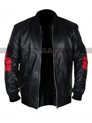 8 Ball Patrick Warburton Black Leather Jacket | Men's Bomber Jacket
