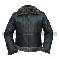 Men's B3 Raf Sheepskin Fur Shearling Black Leather Jacket