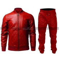 Men Quilted Casual Varsity College Baseball (Pants) Red Bomber Leather Jacket