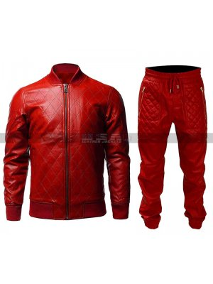 Men Quilted Casual Varsity College Letterman Baseball (Pants) Red Bomber Leather Jacket