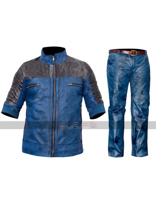 Just Cause 3 Costume Rico Rodriguez Cosplay Blue & Black Leather Jacket