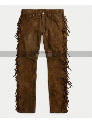 Native American Men Cowboy Fringes Brown Cowhide Suede Leather Pants