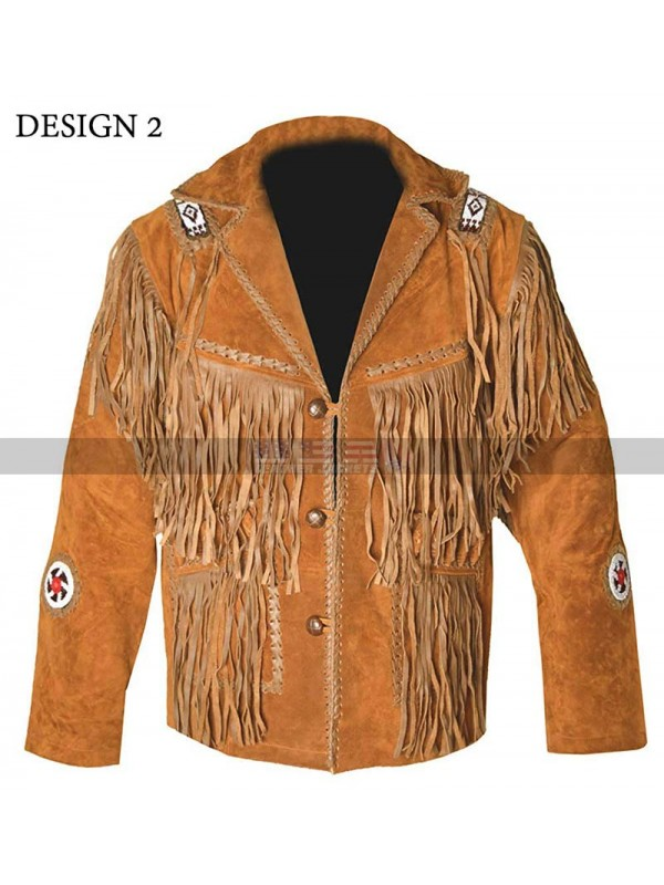 Men's Cowboy Western Fringed Camel Brown Suede Leather Jacket