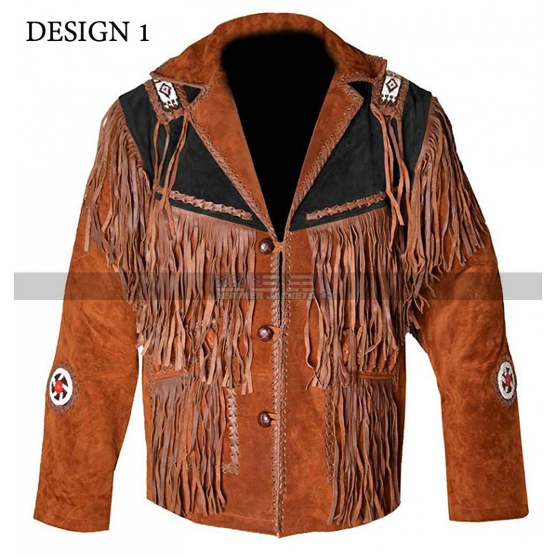 Men's Cowboy Fringed Western Tan Brown Suede Jacket