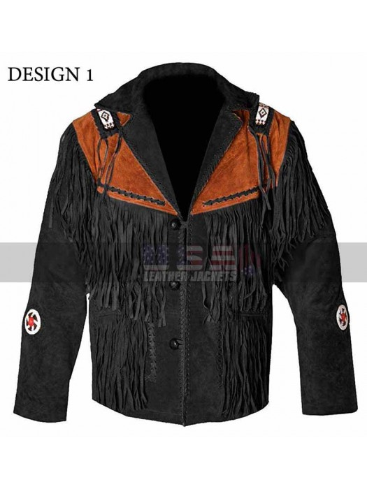 Western Men's Cowboy Black Fringe Suede leather Jacket
