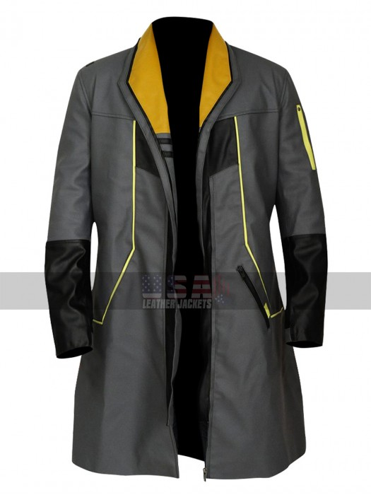 Detroit Become Human Android RK200 Markus Black Leather Coat