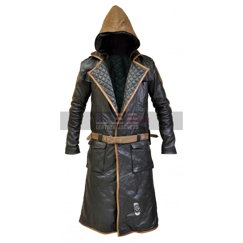 Assassin's Creed Syndicate Jacob Frye Brown Hood Costume Leather Coat