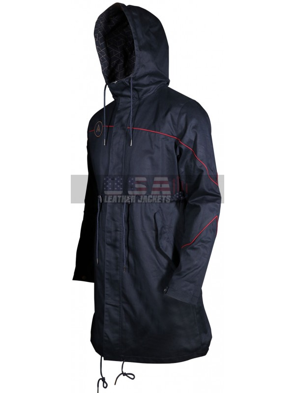 Assassin's Creed Odyssey Cotton Hooded Blue Trench Jacket