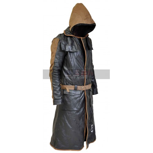 Assassin S Creed Syndicate Jacob Frye Brown Hood Costume Leather Coat