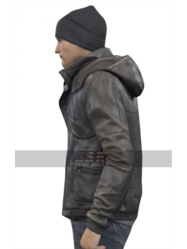 Detroit Become Human Android RK800 Connor Leather Hoodie Jacket