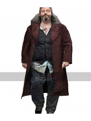 Detroit Become Human Hank Anderson Fur Collar Brown Suede Leather Coat