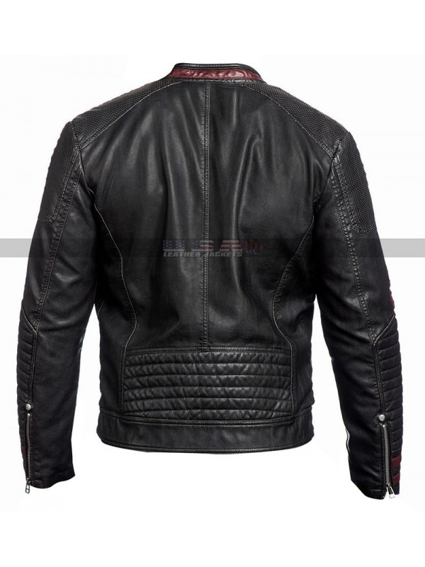 Men's Mass Effect 3 Costume Cosplay N7 Motorcycle Black Leather Jacket