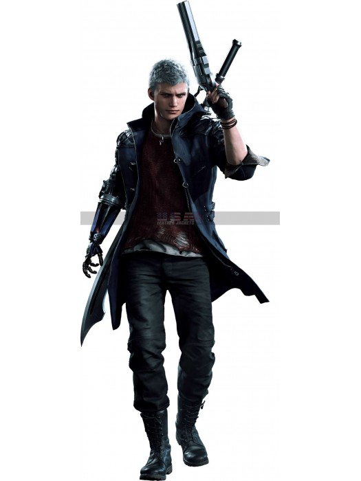 Devil May Cry-5 Nero Blue Leather Jacket