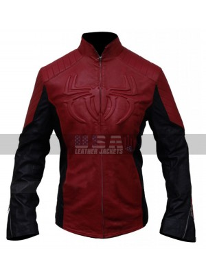 SpiderMan Logo Red And Black Motorcycle Leather Jacket