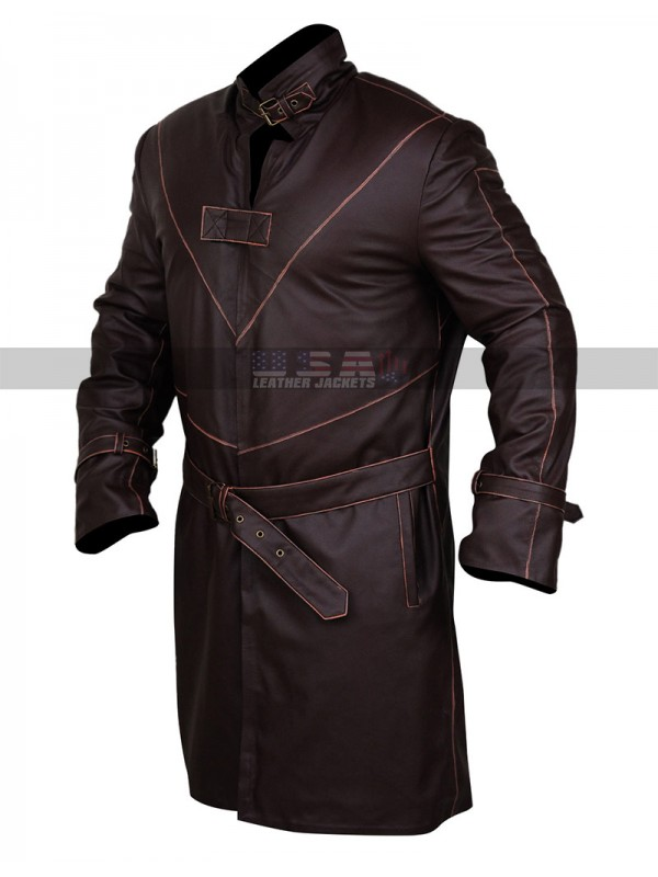 Watch Dogs Aiden Pearce Costume Coat Fur Collar Mens Brown Leather Trench Coat