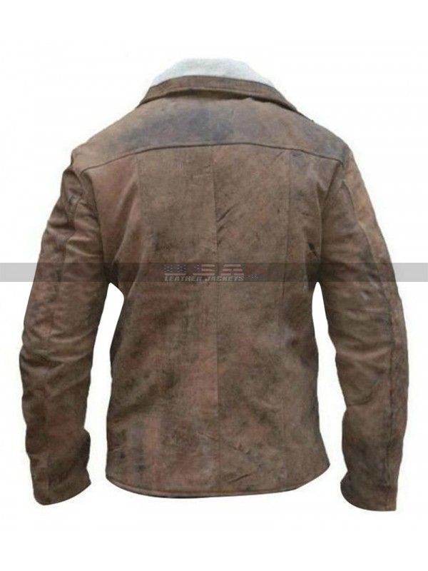 Mens Wolfenstein William BJ Blazkowicz Distressed Brown Jacket