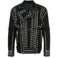 New Classic Style Brando Silver Studded Black Suede Leather Jacket
