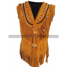 Western American Womens Cow-Lay Brown Fringe Suede Leather Vest